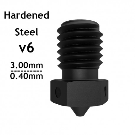 v6 Extra Nozzle - Hardened Steel - 3.00mm x 0.40mm