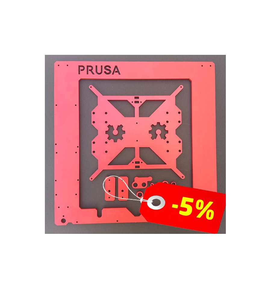 Aluminum frame Prusa i3 RED ANODIZED - 3D Printers-shop